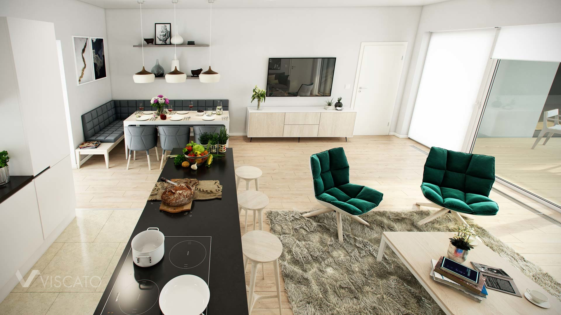 3d visualization of a living room with a kitchenette- Viscato