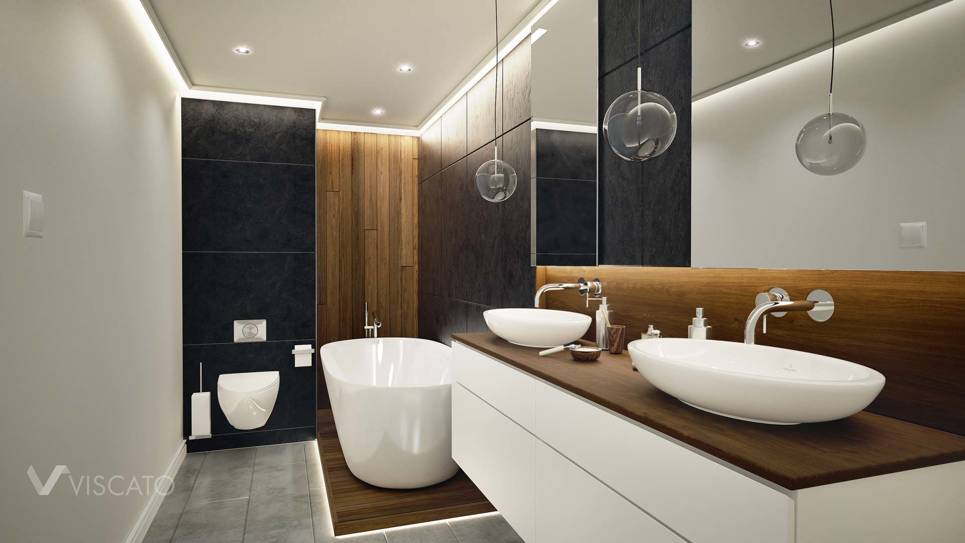 3D visualization of a luxurious bathroom, Viscato