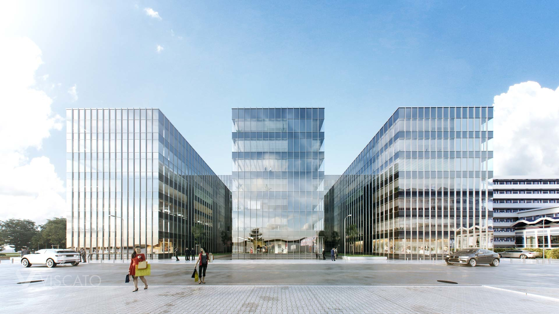 3D renderings of a glass office building