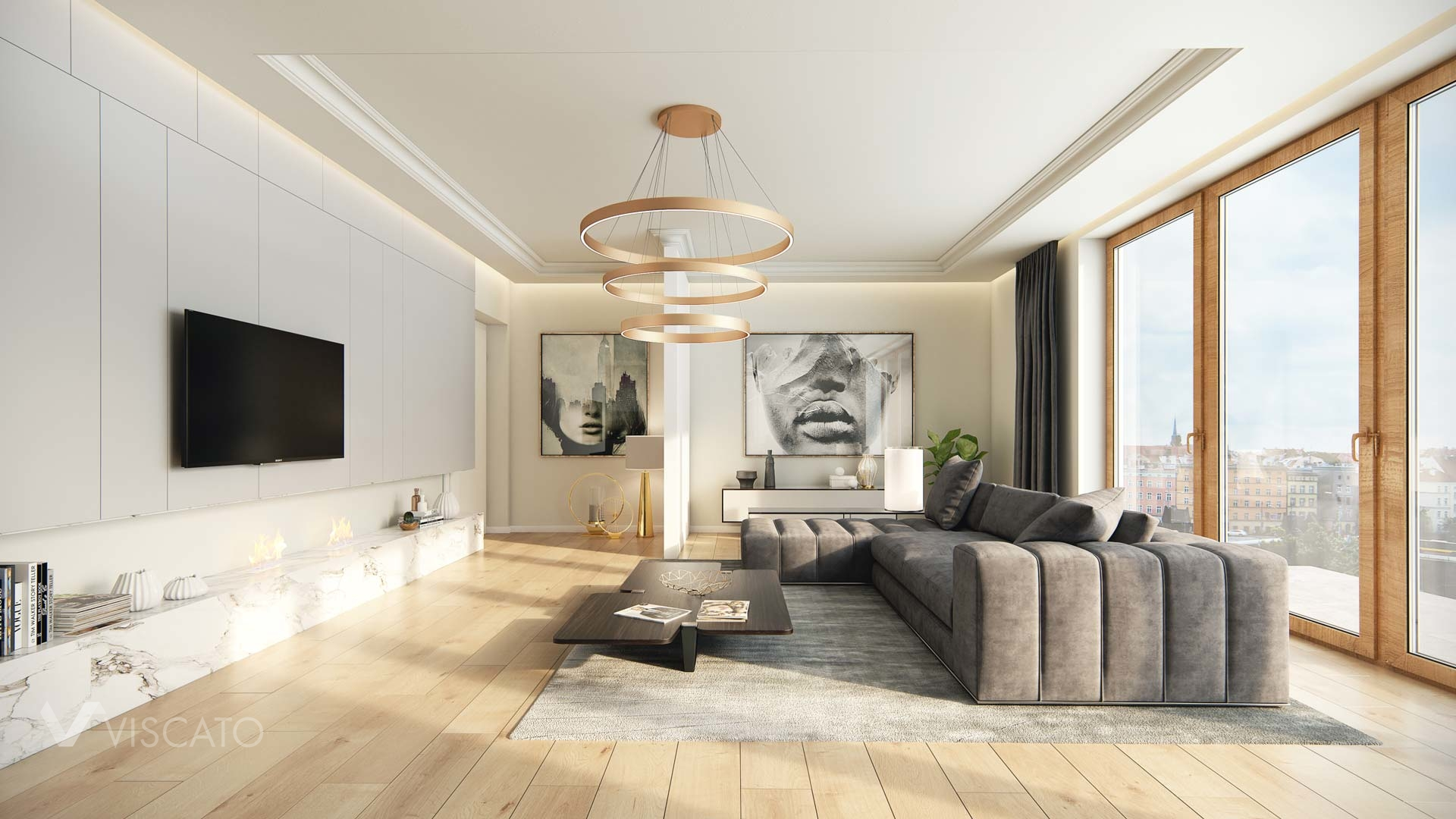 3D interior visualization of a luxurious living room, 3ds Max