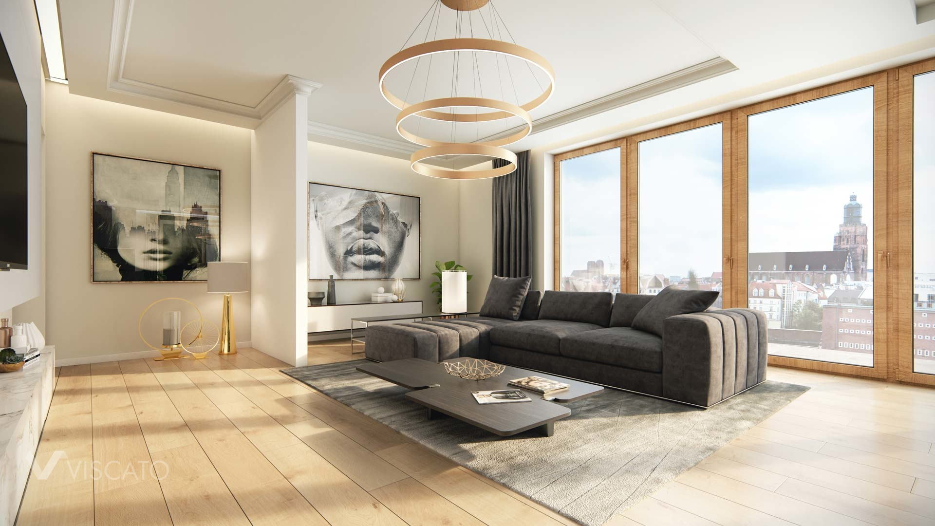 3D interior visualization of a luxurious living room, Viscato