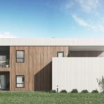 3D visualization of a detached house with wooden siding