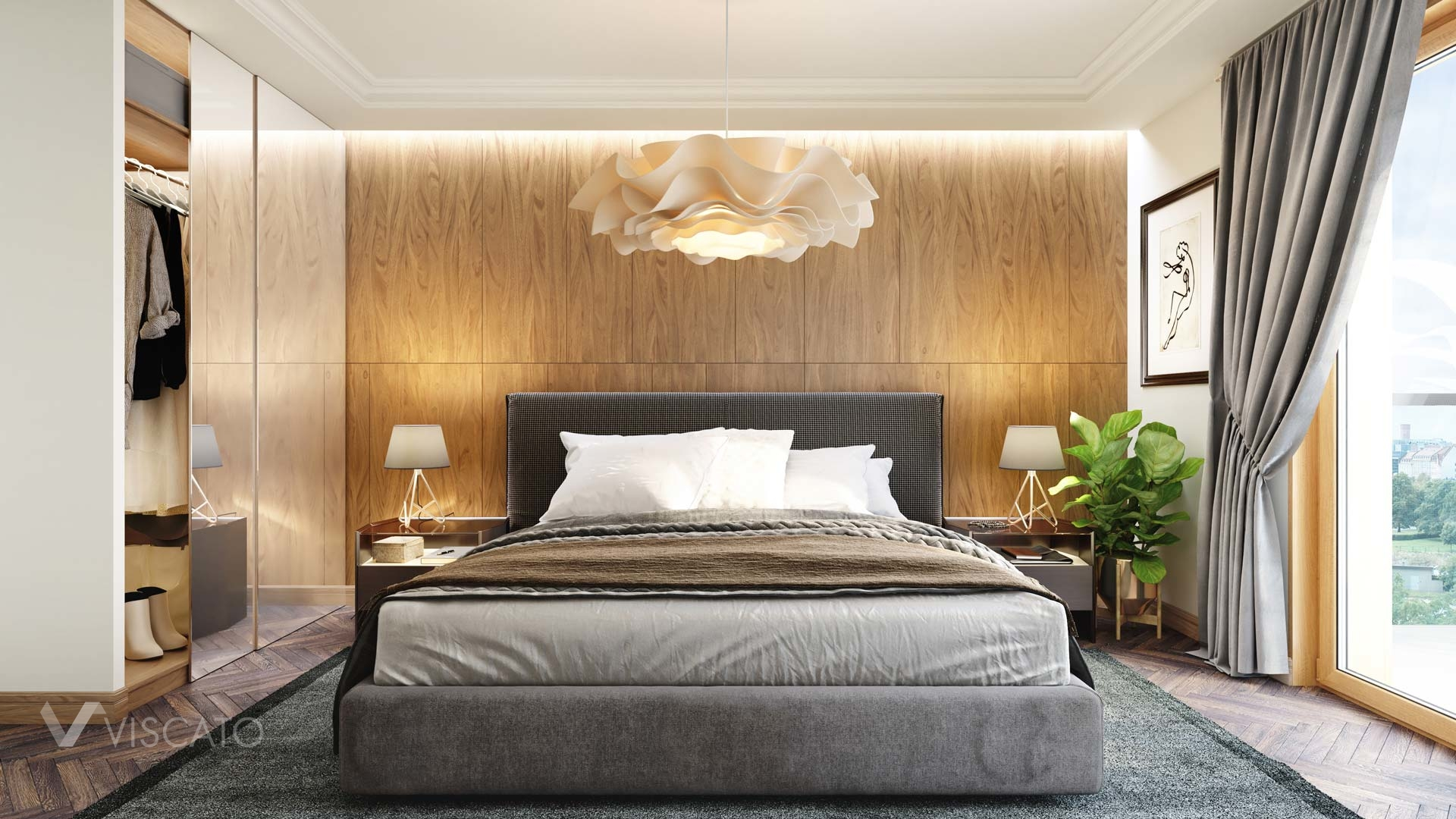 Luxurious bedroom in 3D, Viscato