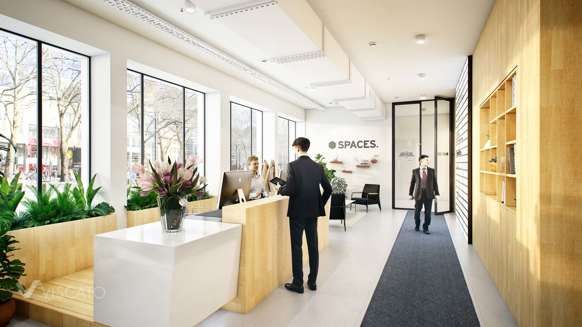 3d visualization of an office- welcome area