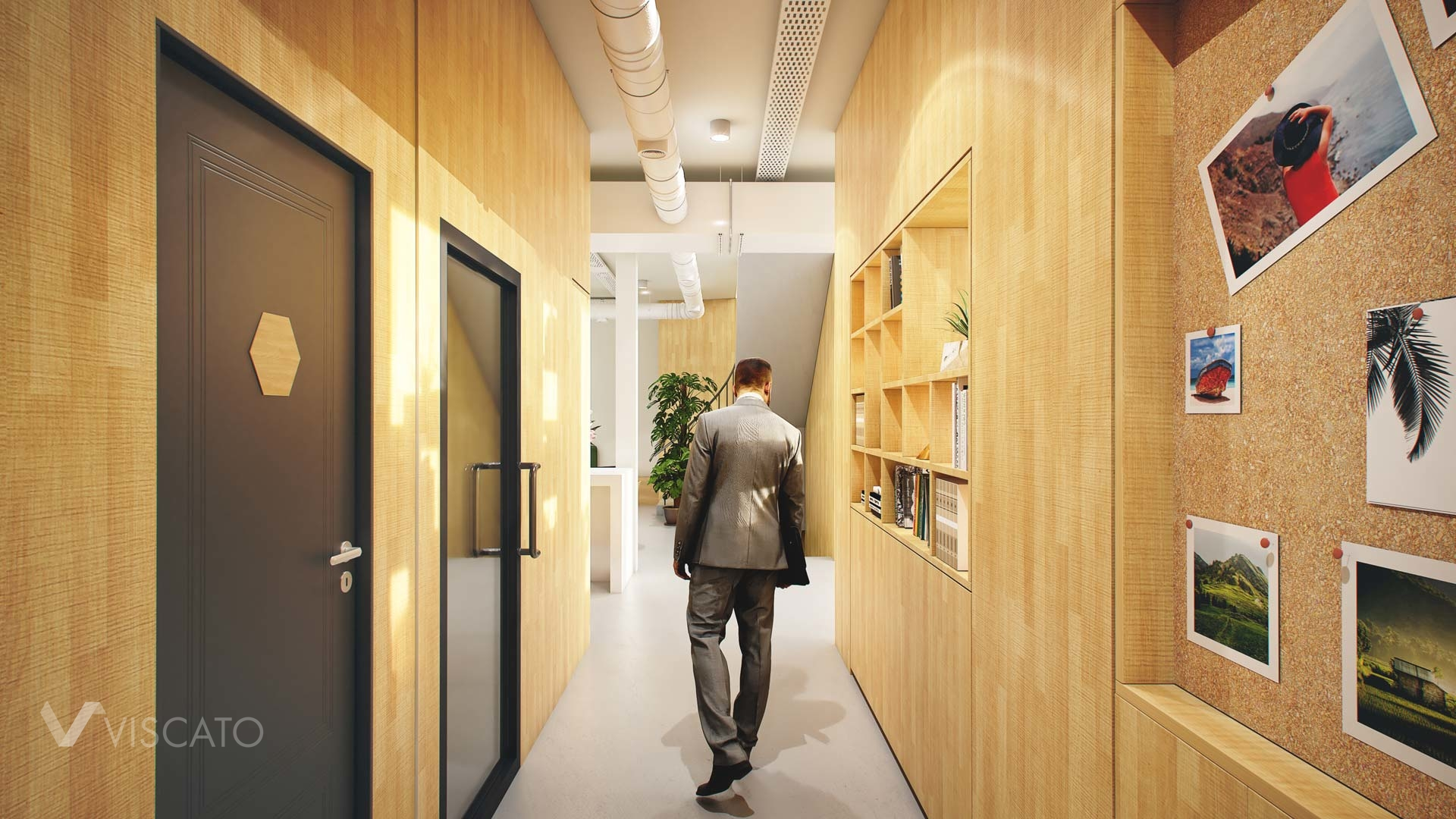 3d visualization of an office- corridor