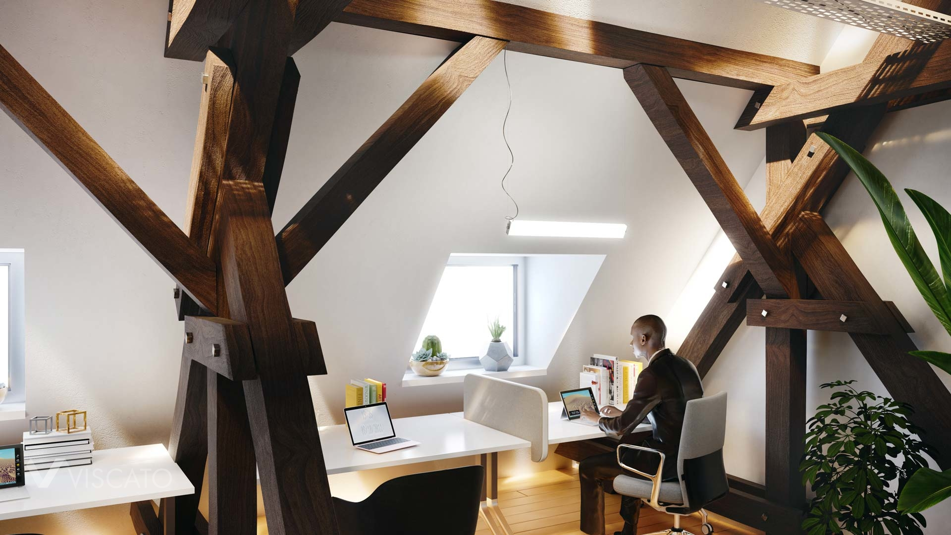 3d visualization of an office in Berlin with woodden beams, Viscato