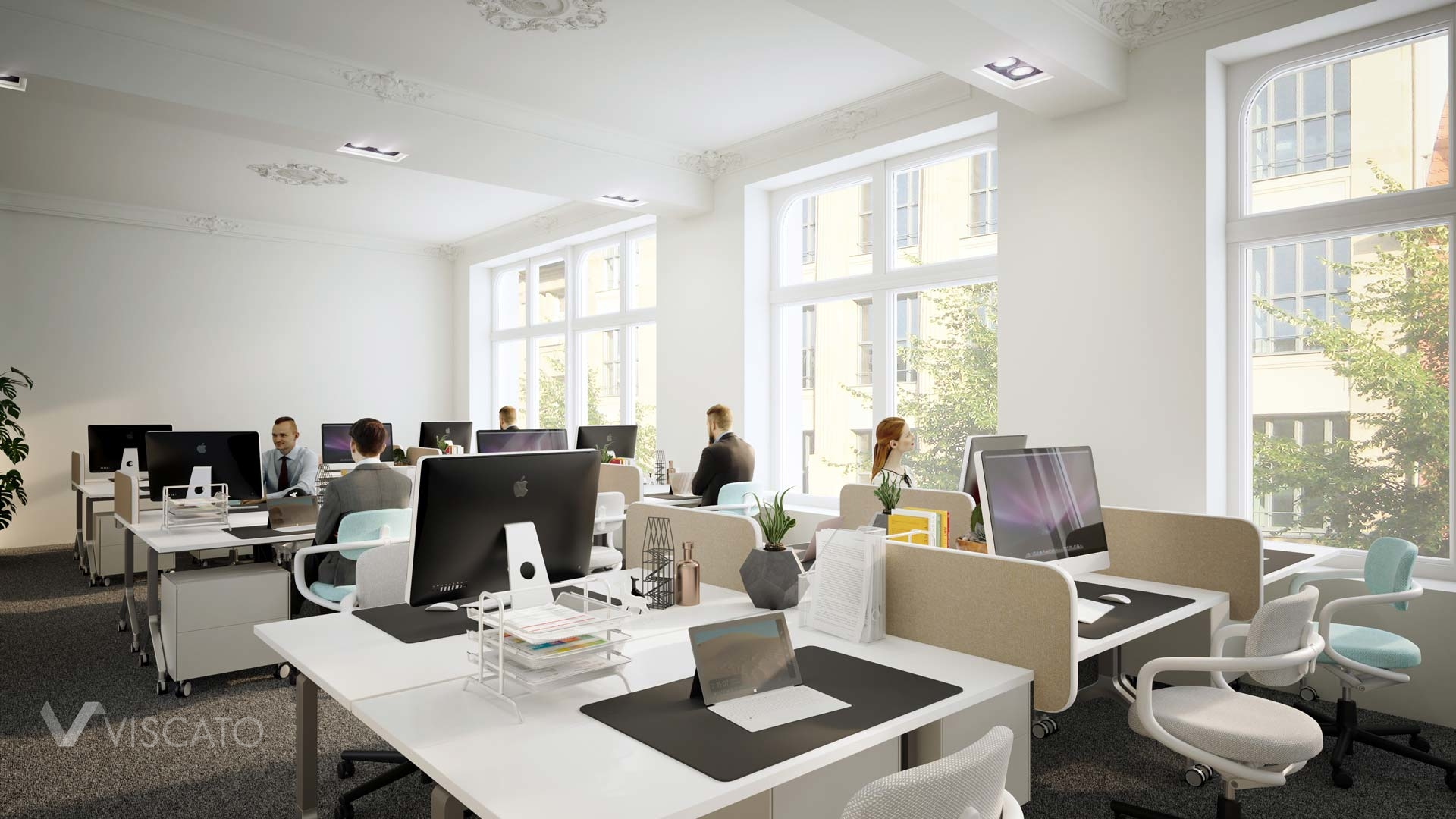 open space office interiors in 3d