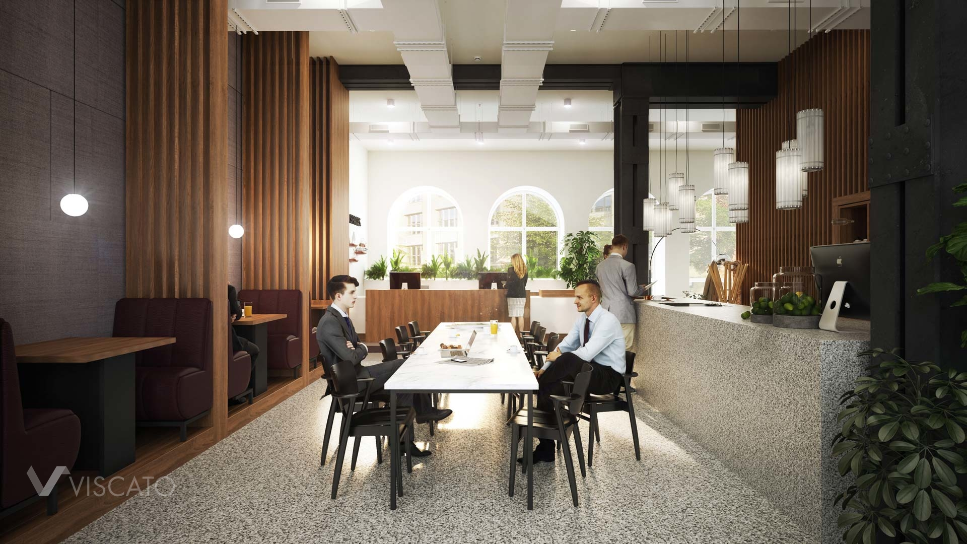Dining area in the office, 3D rendering