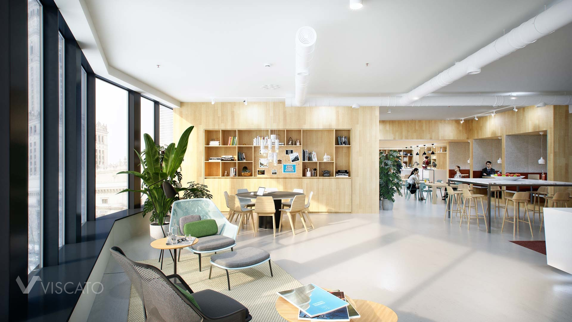3d rendering of an Office in Warsaw- welcome area