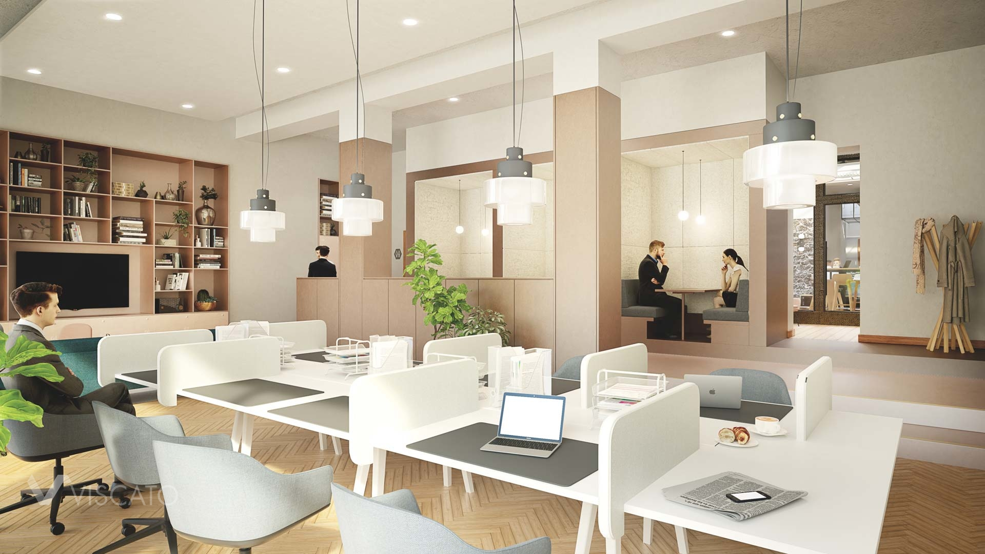 3D office interiors- open space