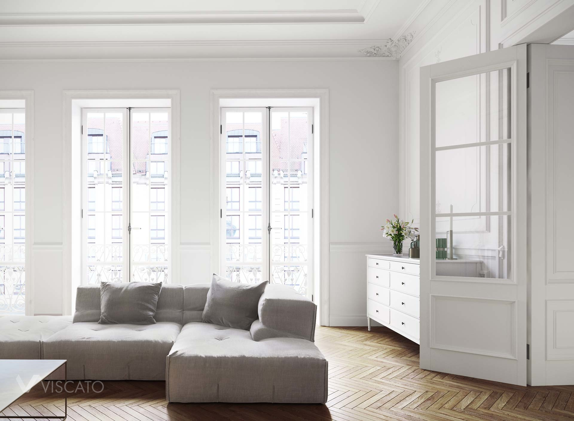 3D interior rendeirng of white and classic living room Viscato