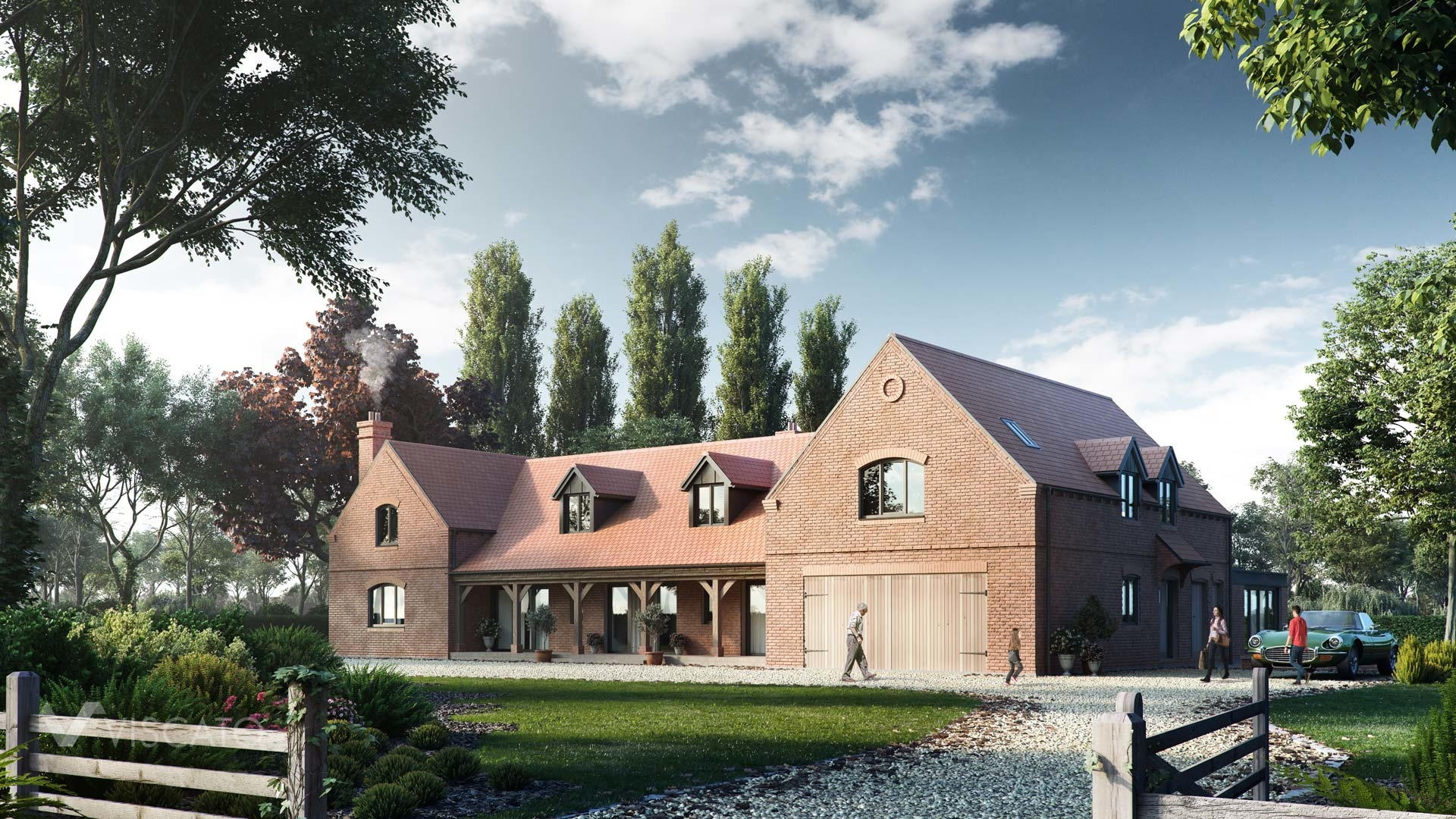 House in the countryside, 3D visualization