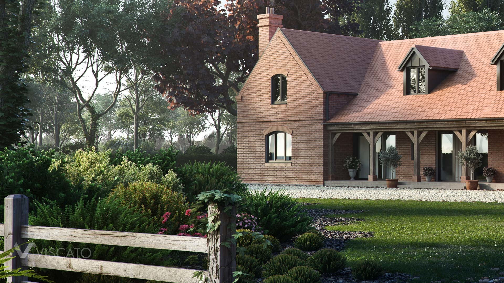 3D visualization of a barn house- detailed view