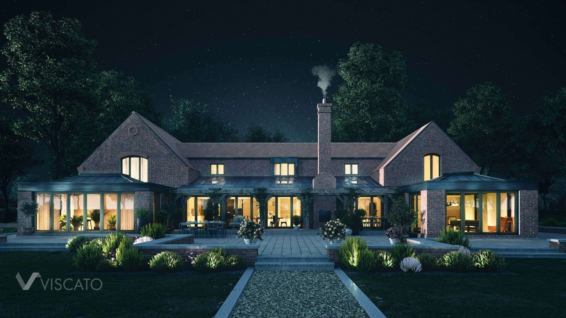 Barn house visualization in the night time, Viscato