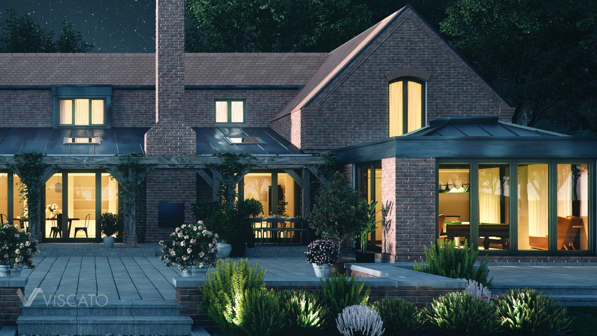 3D rendering of a detached house in England, detailed view from the back