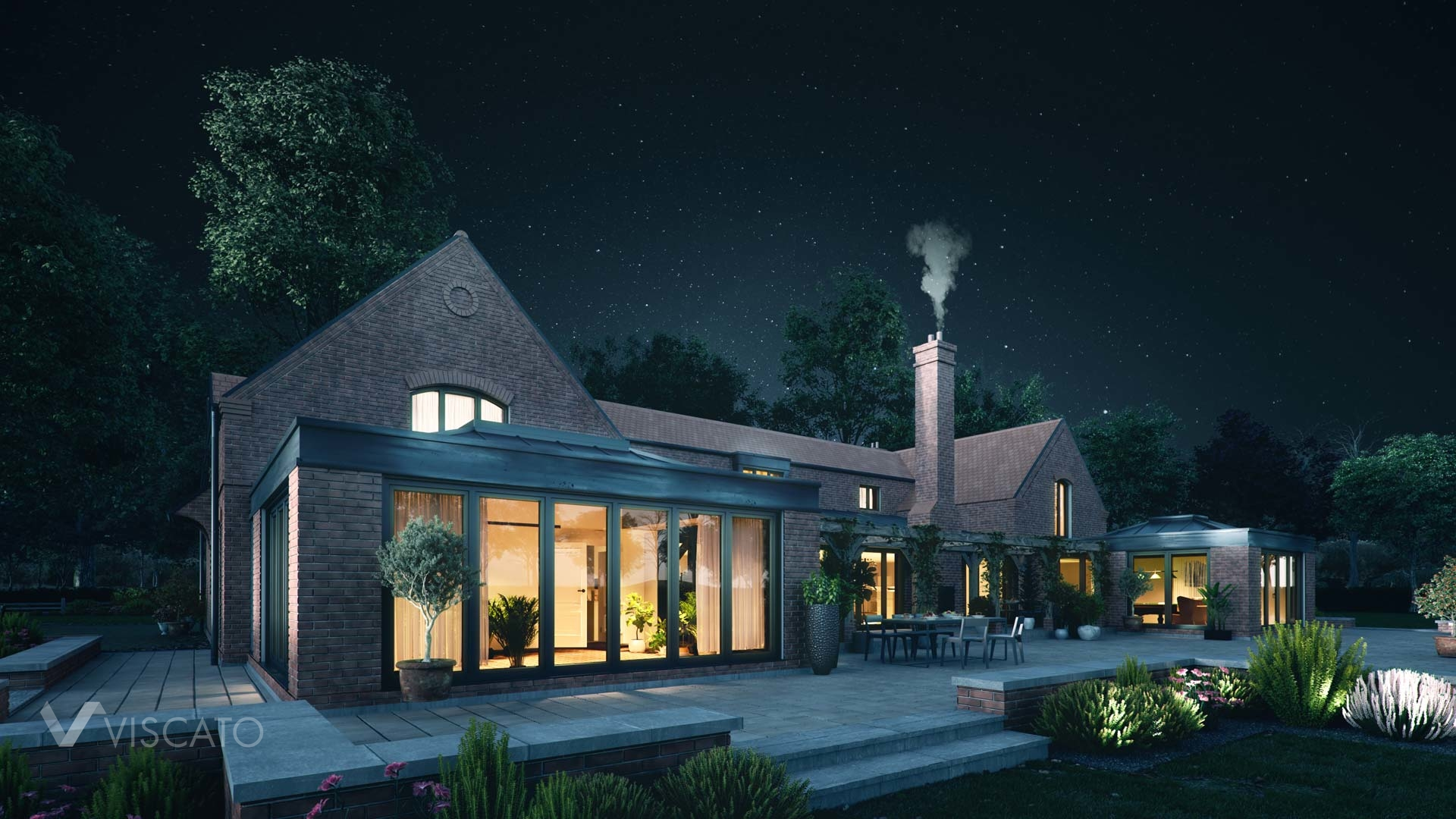 3D rendering of a detached house in England, view from the back