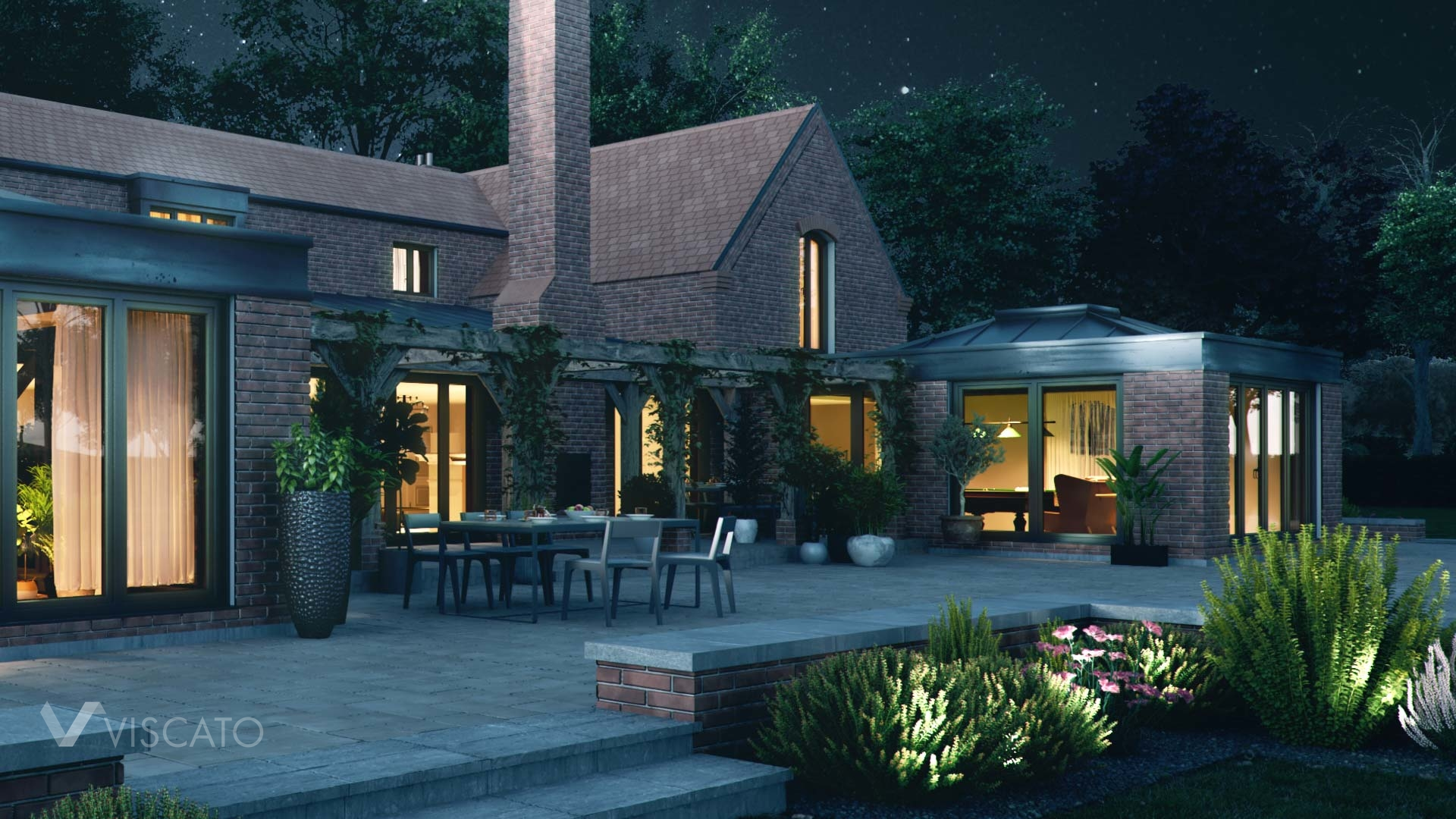 3D rendering of a detached house in England, 3ds Max