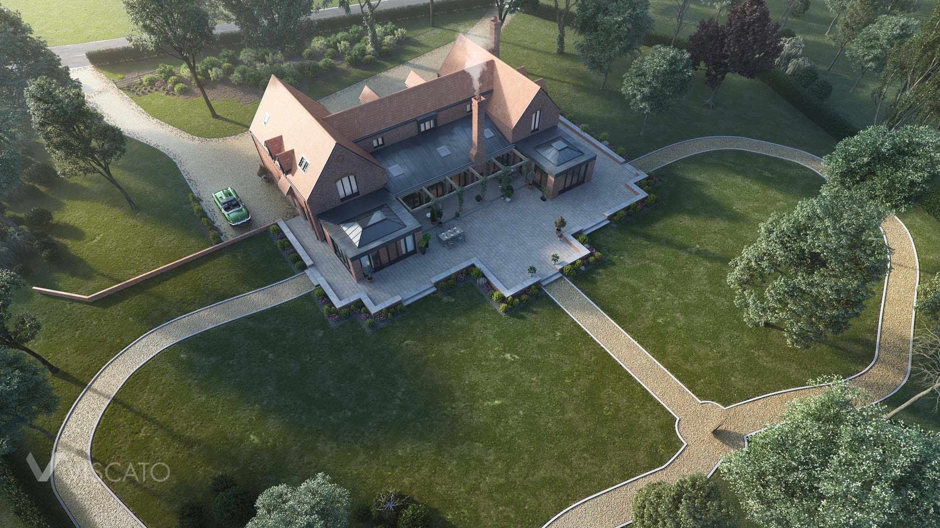 Brick House in England, Viscato 3D visualization- bird's eye view