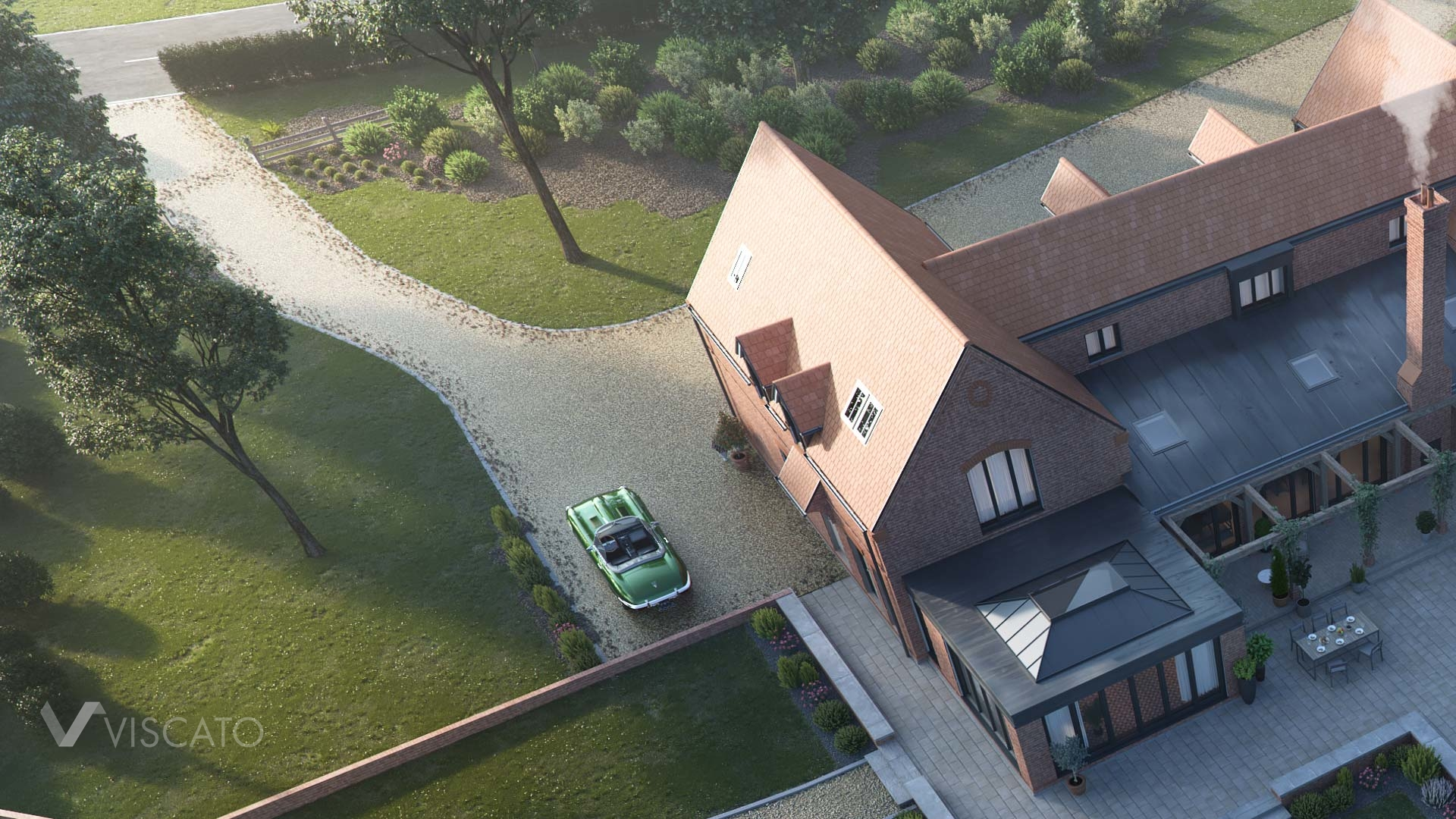 Brick House in England, Viscato 3D visualization