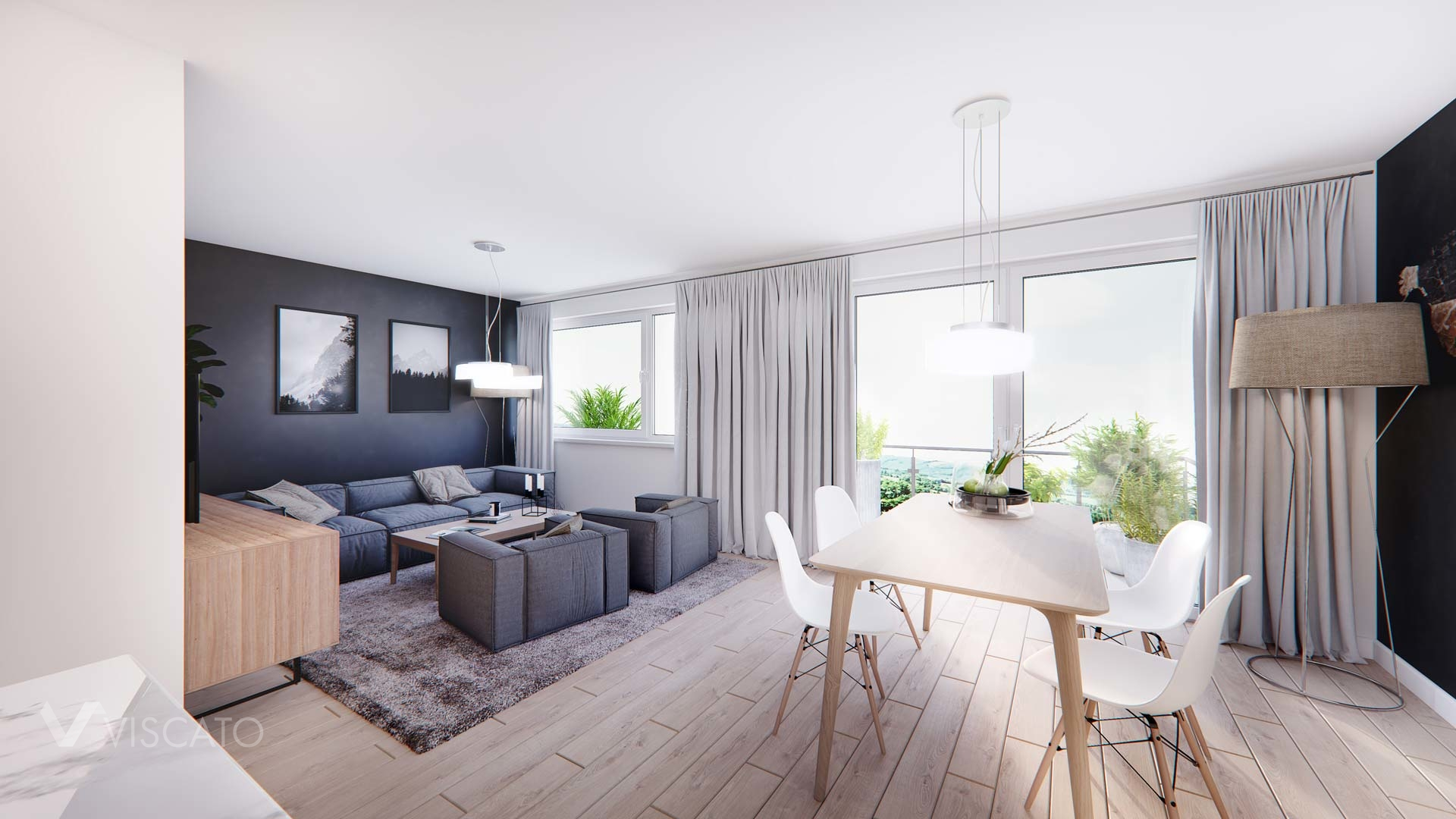 Contemporary style interiors in 3D, Viscato