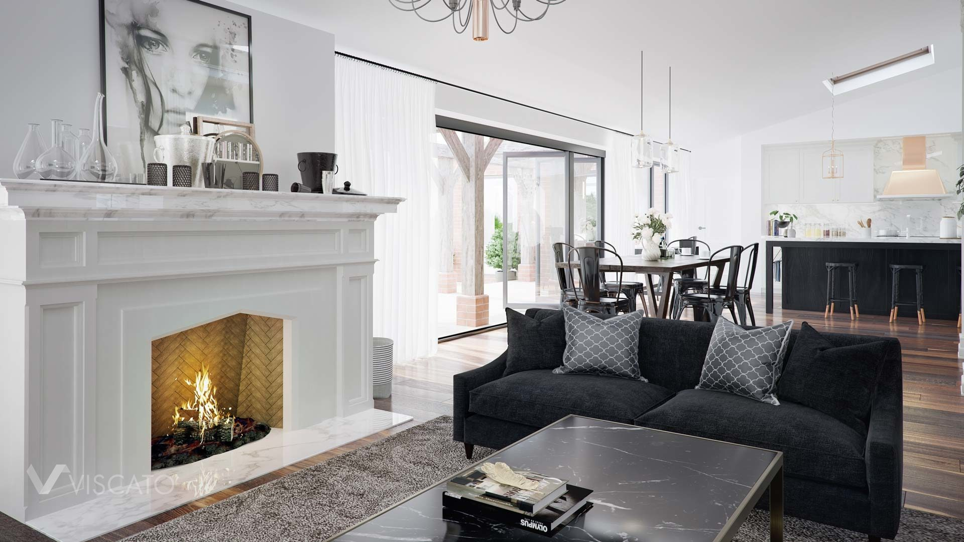 elegant interior with a fireplace in 3D, Viscato