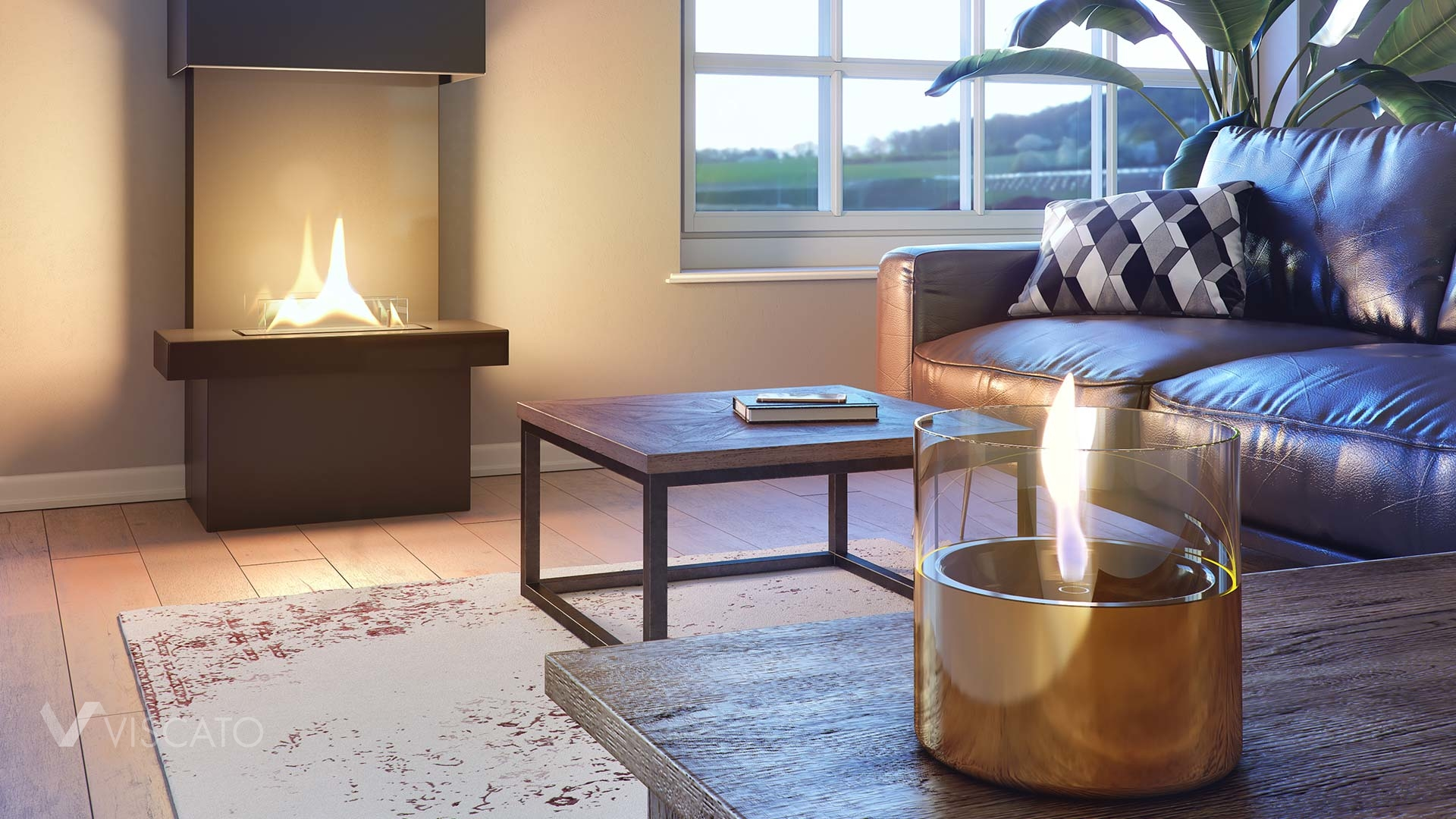 3D renderings of fireplaces in an apartment, Viscato