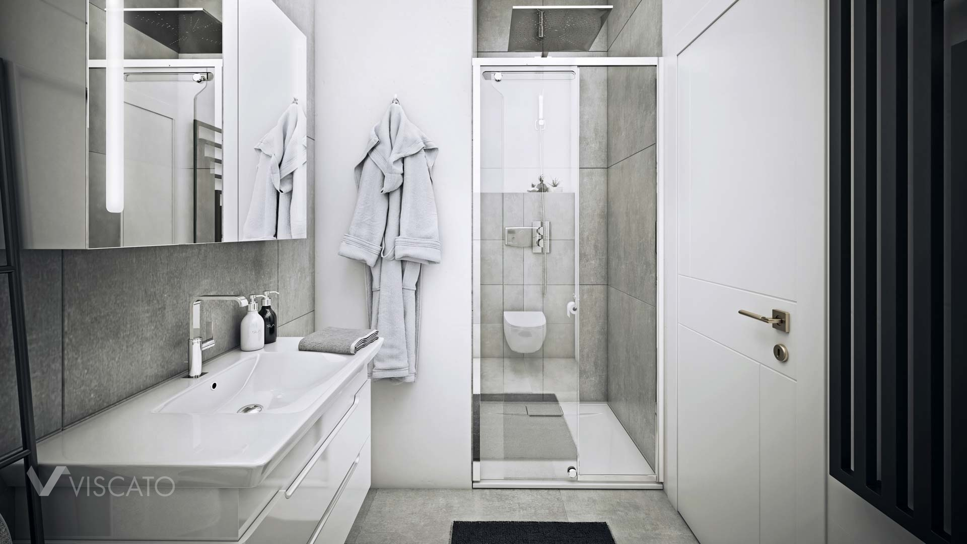 White and Grey bathroom, 3Ds Max