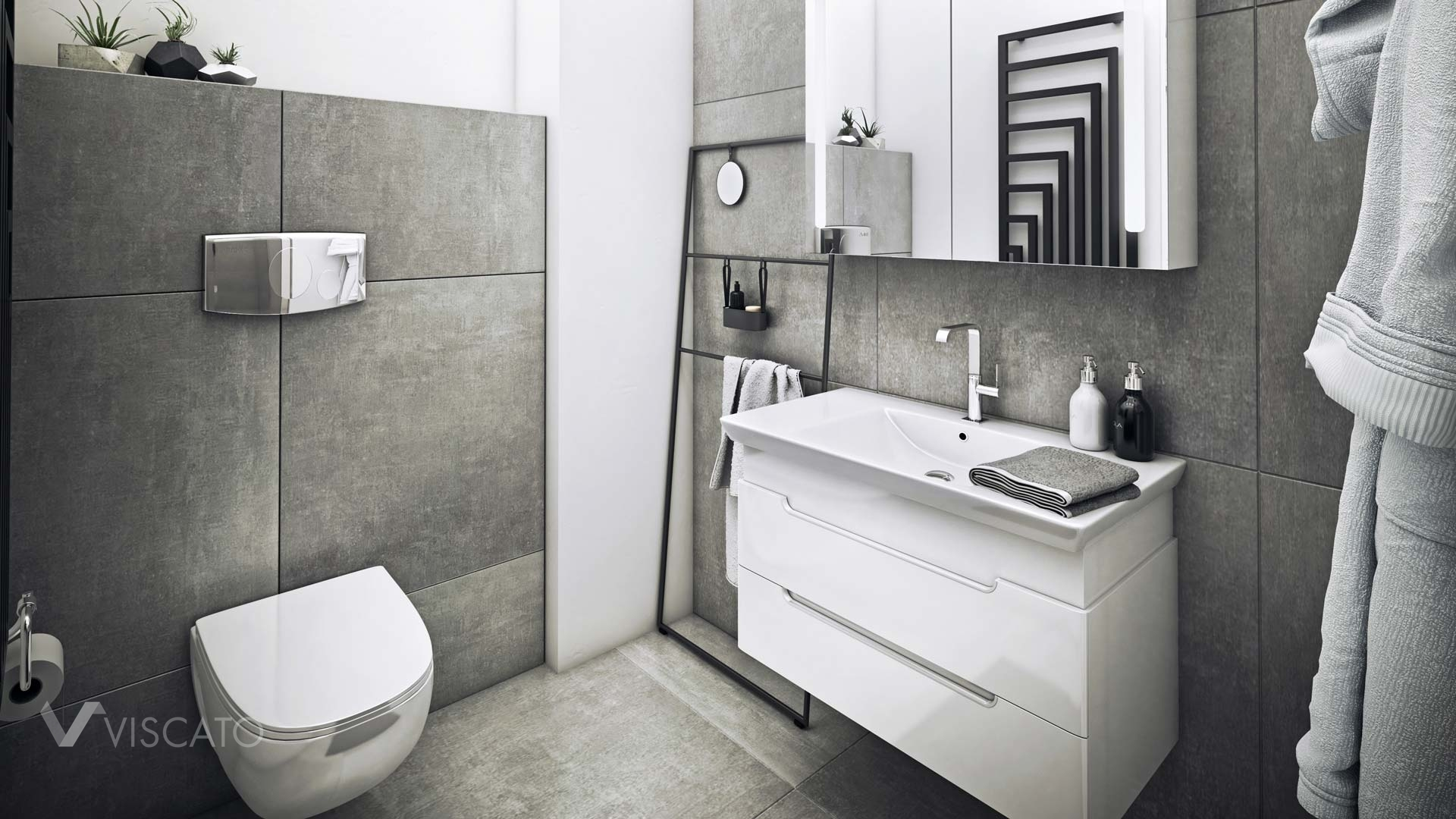 3d visualization of white and grey bathroom, Viscato