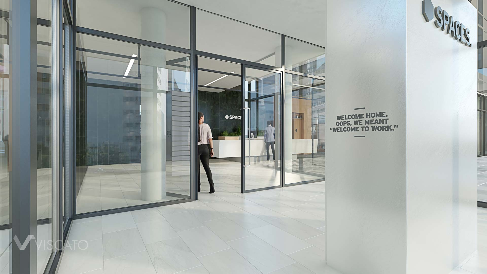 Glass walls in an office