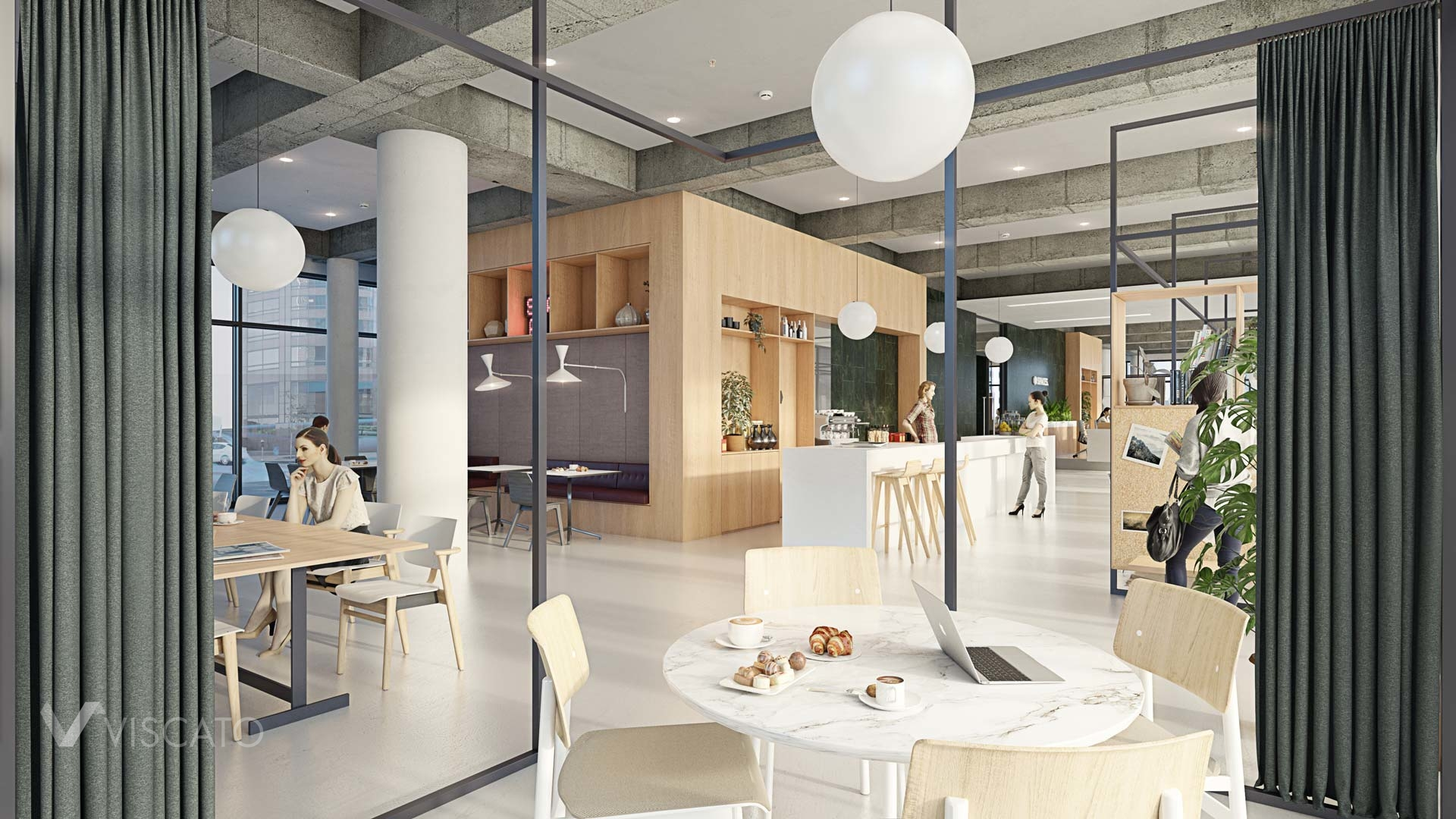 Industrial style interior of an office in Germany, Viscato