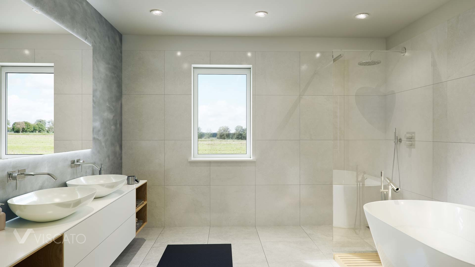 3D interior visualization of a bathroom with a shower and a bathtub, 3ds max
