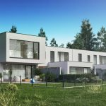 White terraced house near the forest, 3ds Max