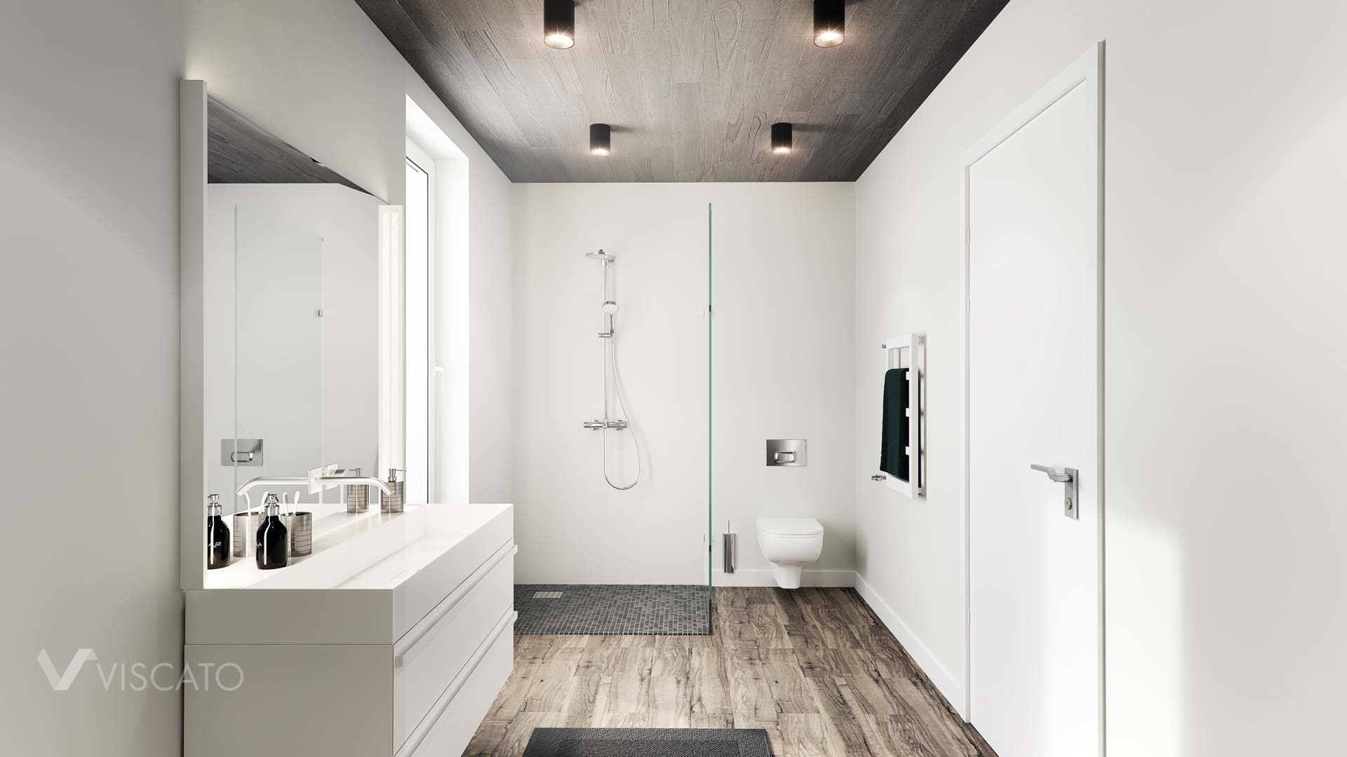 bathroom with a wooden ceiling, Viscato