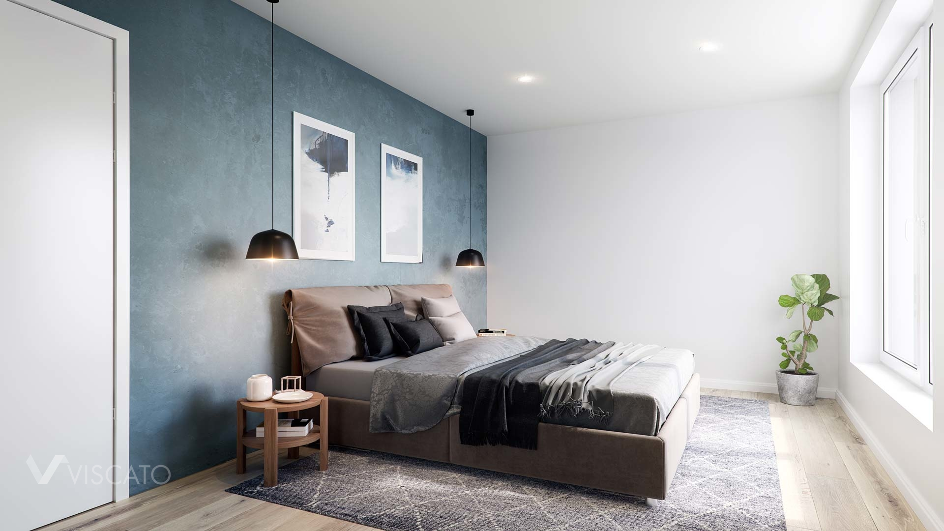 Bedroom in 3D with a brown bed, Viscato
