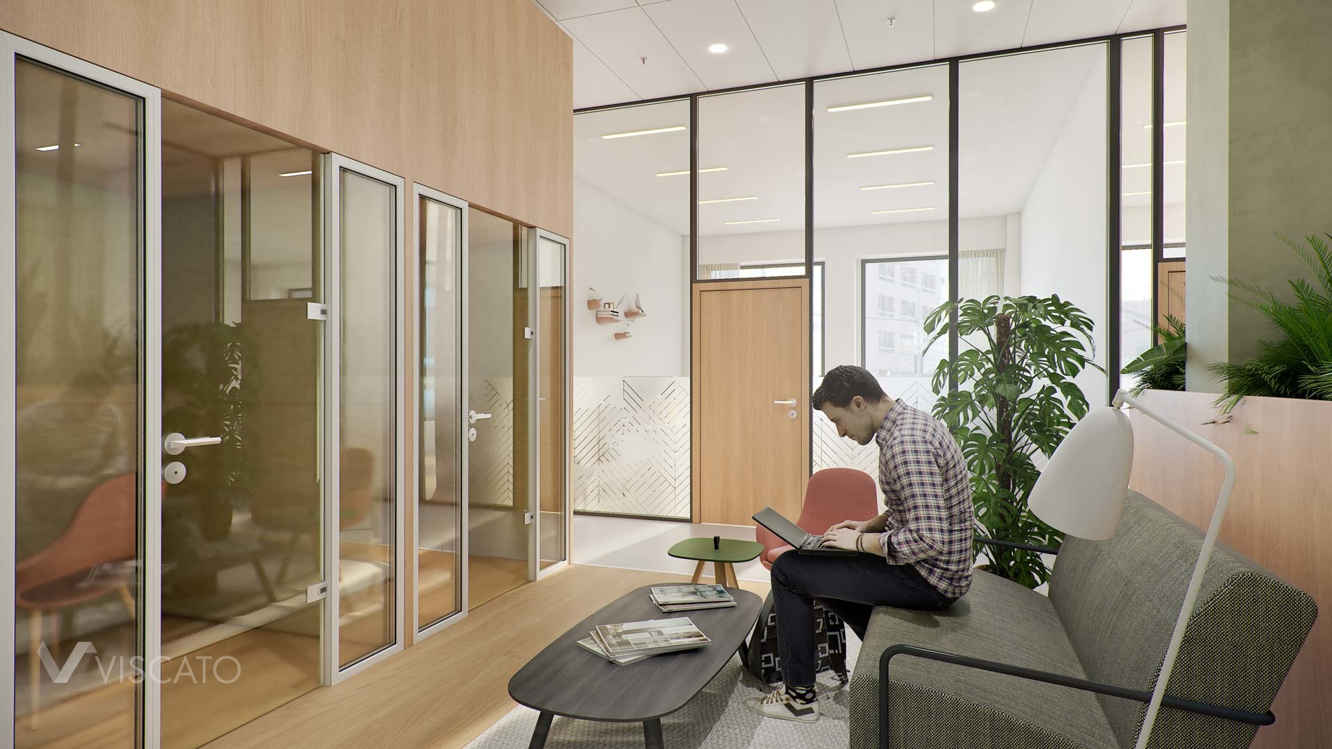 Office interiors in Antwerp, 3d visualization