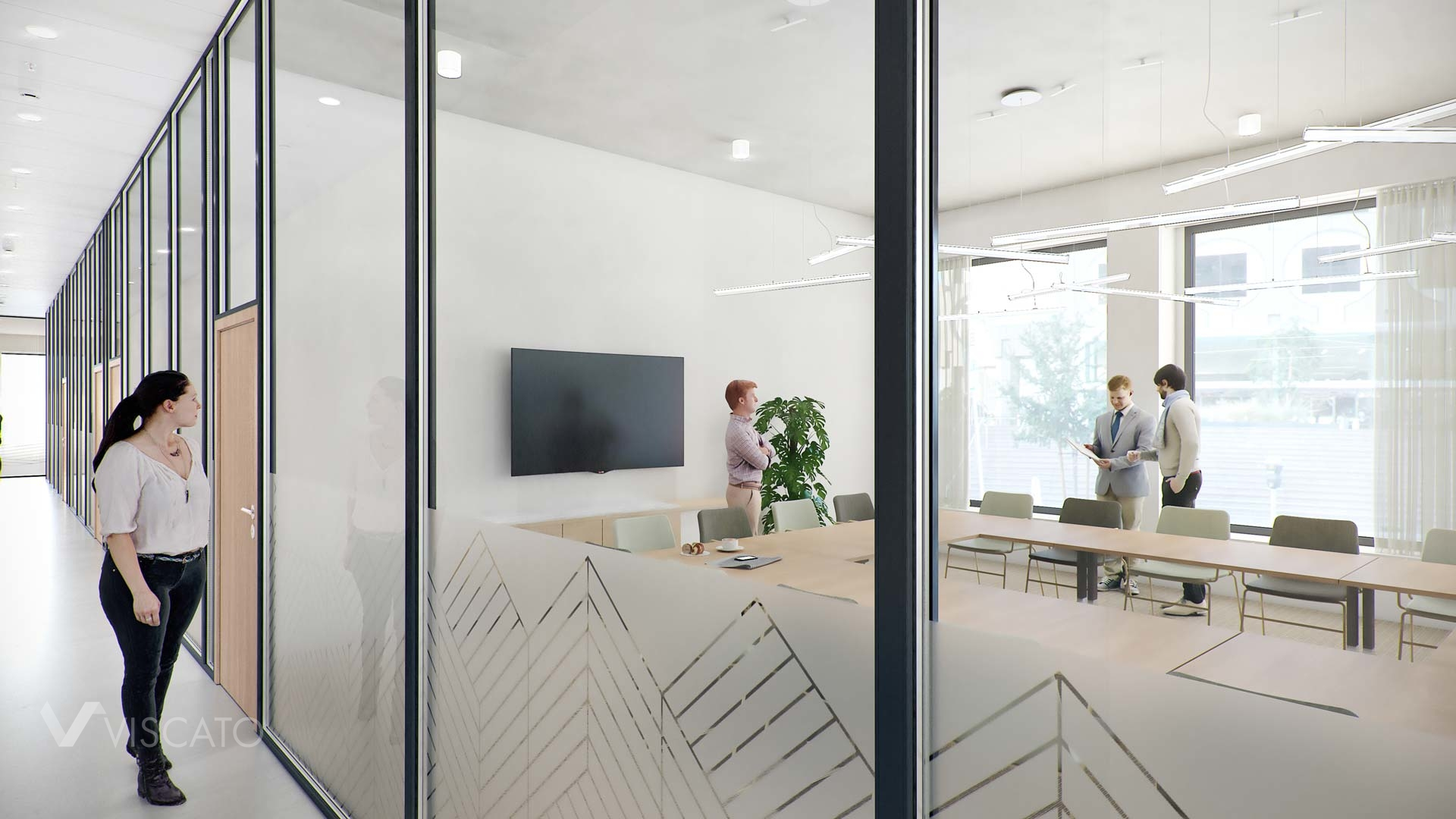 Office conference room with glass walls, Viscato