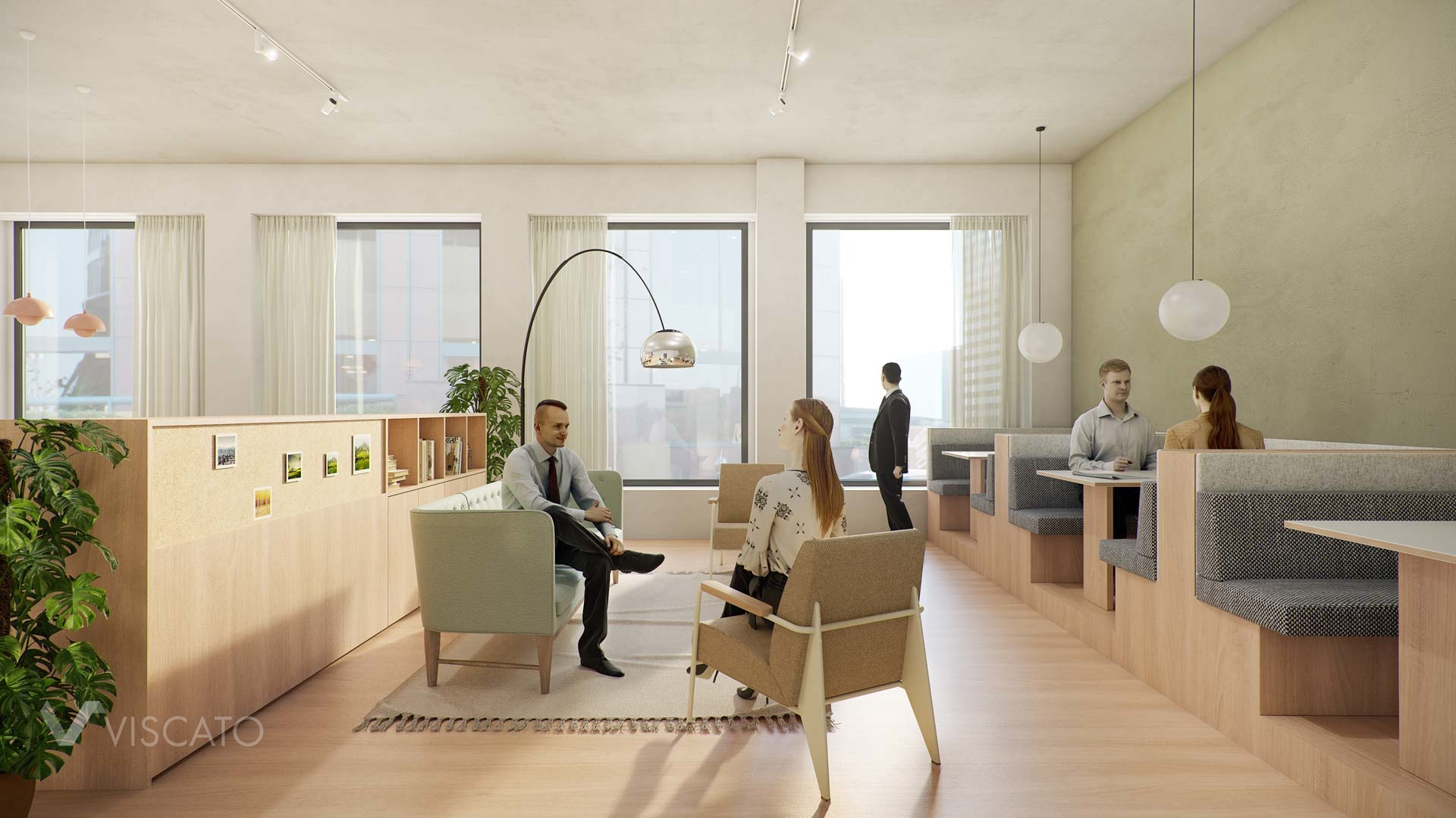 Office interiors in natural colours, viscato
