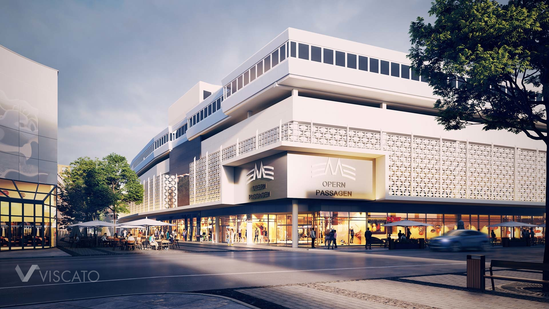 3D mall with white facade, Viscato