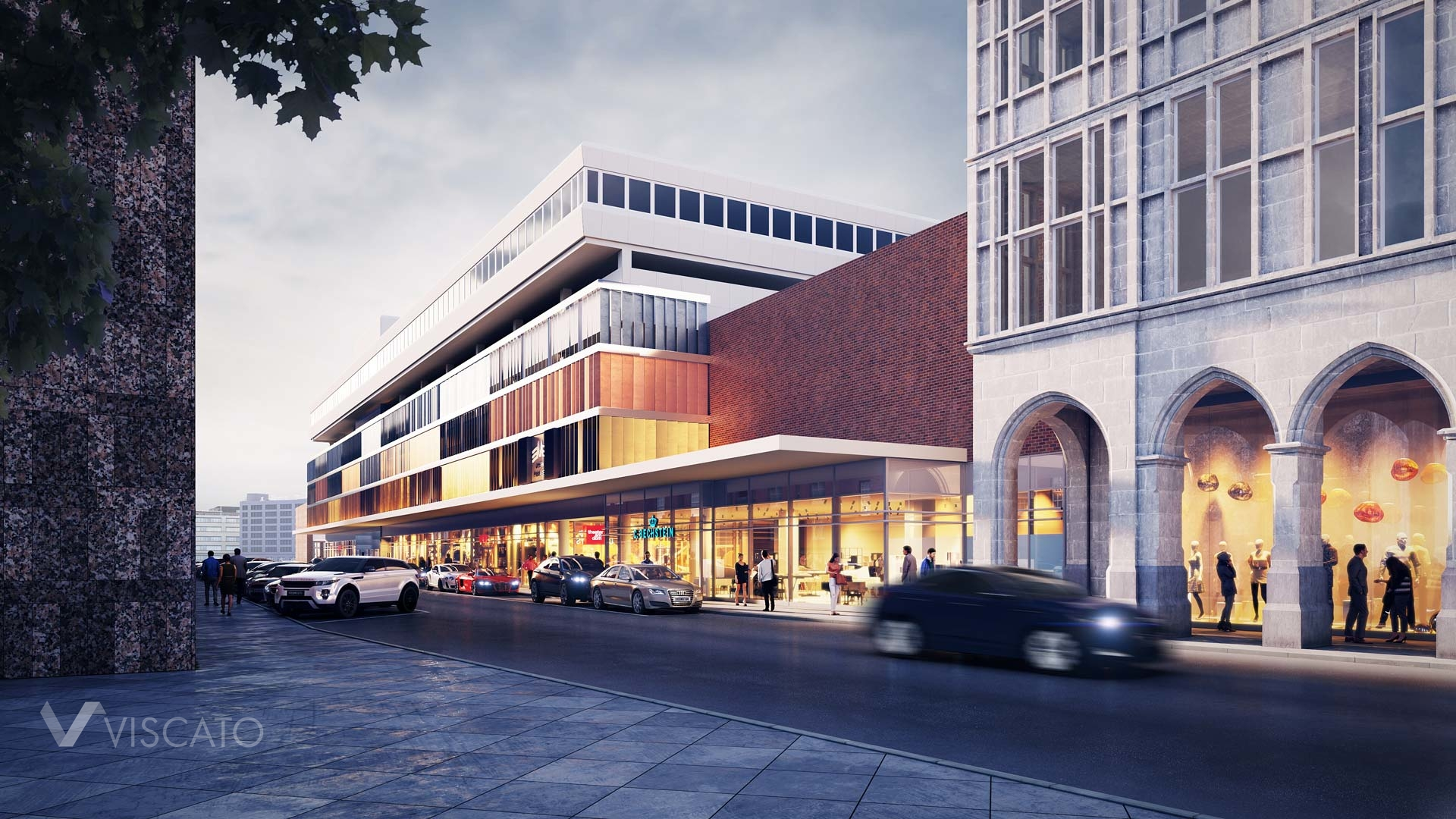3D architectural rendering of a mall in Cologne, 3ds max