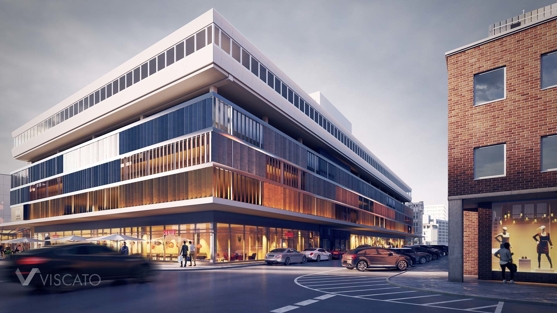 3D exterior visualization of a shopping centre in Cologne, Viscato