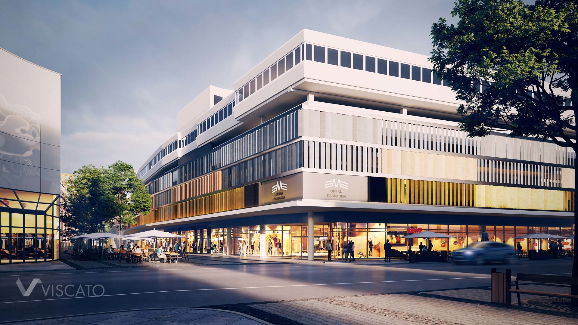 3D exterior visualization of a shopping centre, Viscato