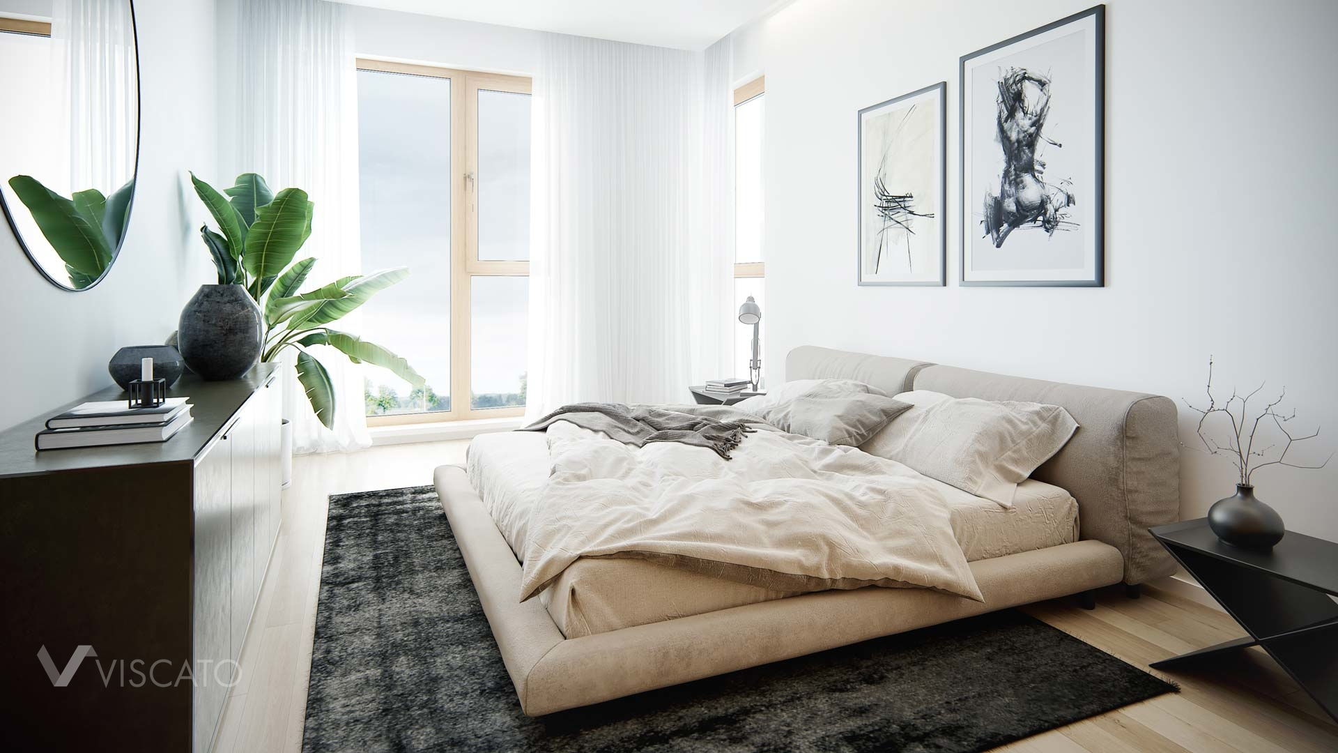 modern bedroom in 3D, V-ray