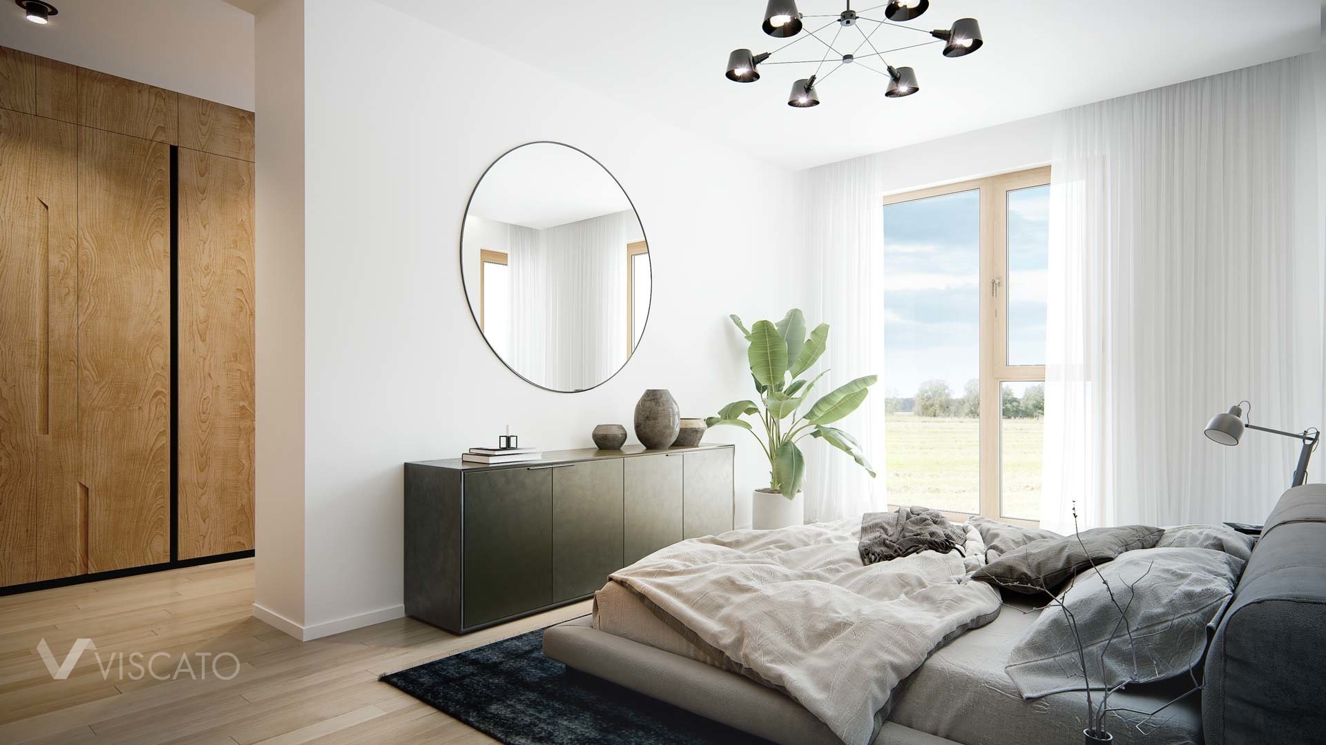bedroom with large windows visualization, Viscato