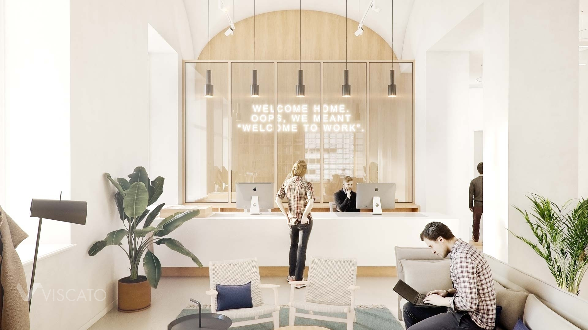 Office with white walls, Viscato 3D