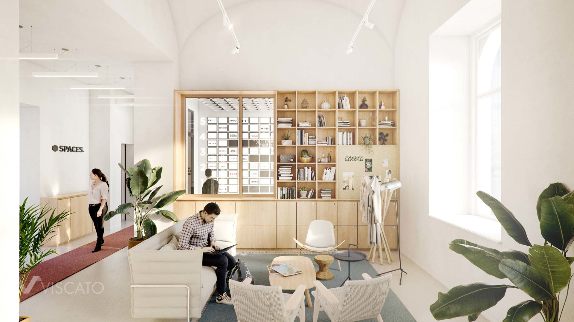 3d interior visualization of an office, Rome