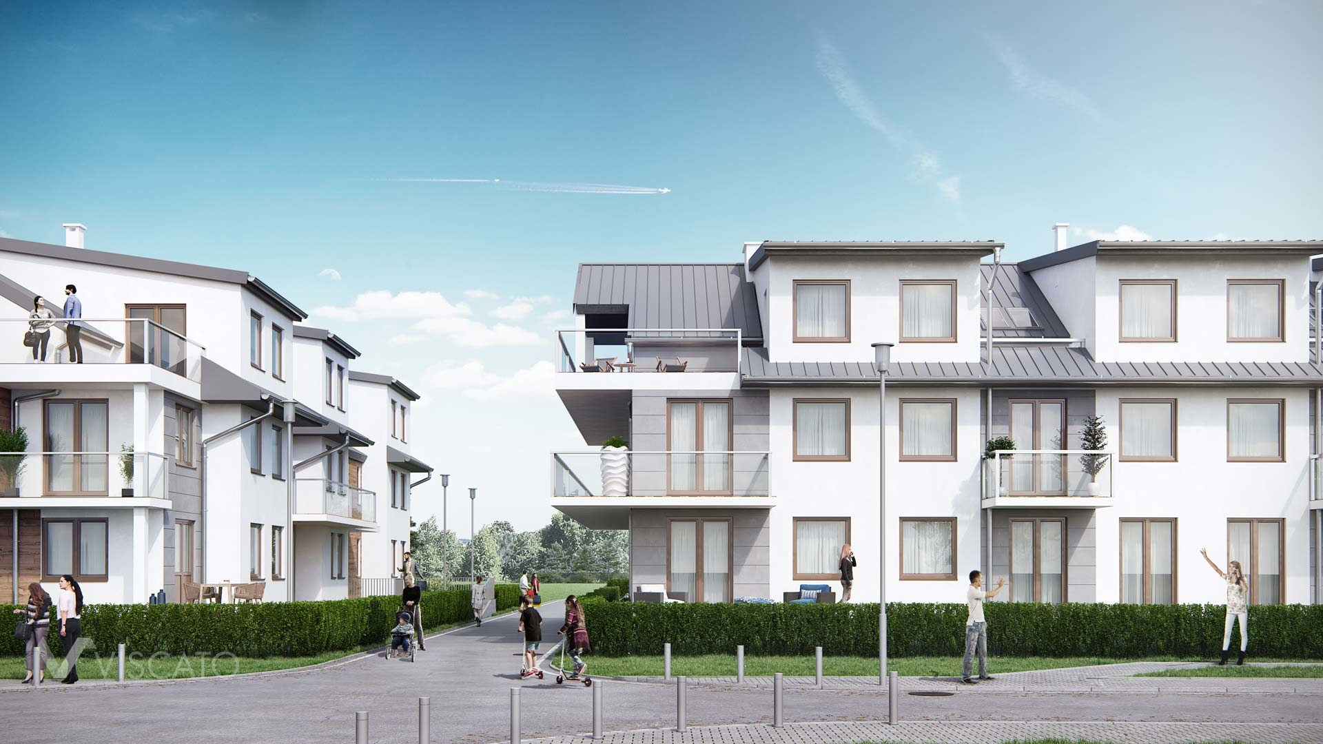 3d exterior rendering of a housing estate, Viscato