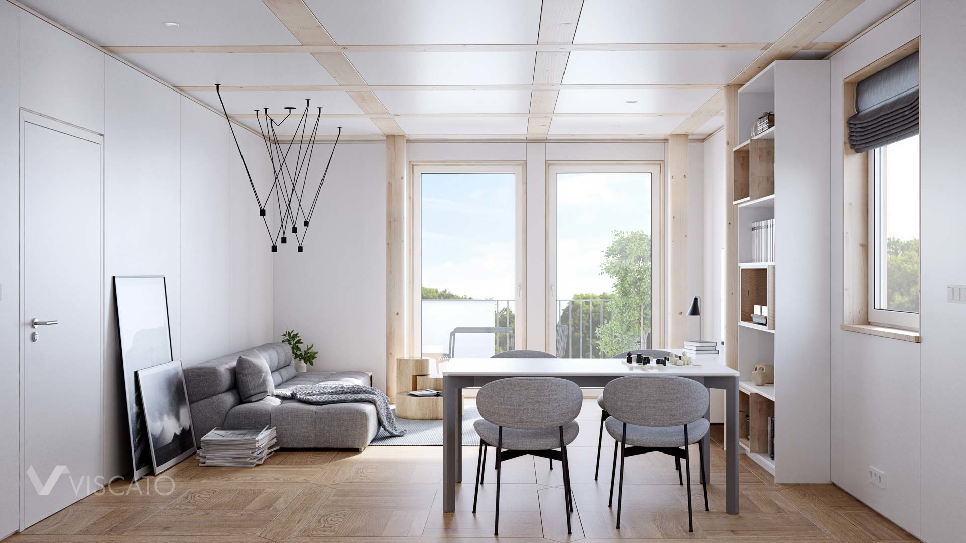 white and wooden living room, Scandinavian 3d
