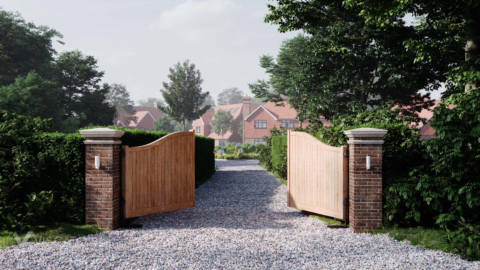 Wooden gate to the housing estate, 3D visualizations