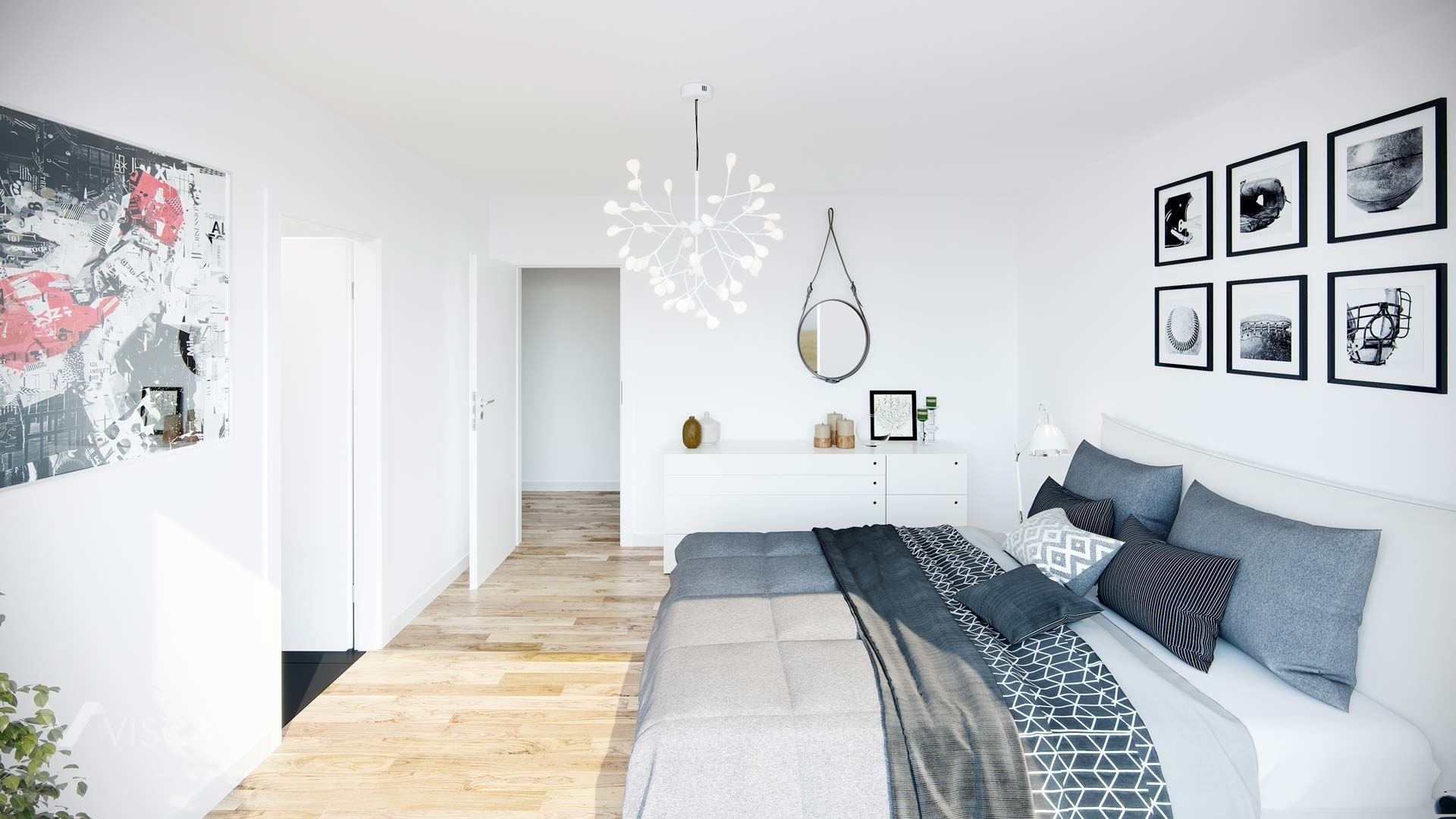 master bedroom with white walls, Viscato