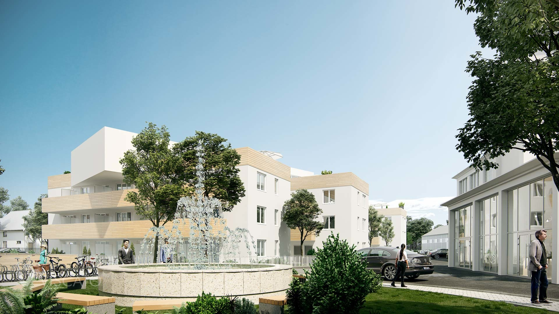 3D rendering of a real estate with a fountain, Viscato
